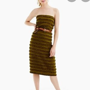 J Crew Collection Olive Green Striped Raffia Dress